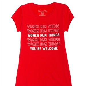 Women run things 🌸 you're welcome red t shirt 🙌